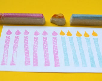 birthday candle stamp, hand carved rubber stamps, handmade rubber stamps