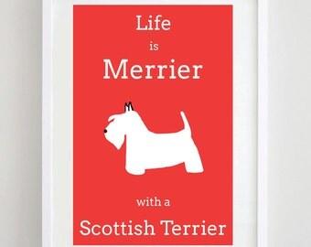 Scottish Terrier Print - Scotty - Scottie - Dog Art - Dog Picture - Dog Print - Wall Art