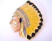 Vintage Indian Head Wall Hanging