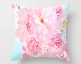"Photo pillow, ""Soft Blue Sky with Pink Peonies"" Decorative Throw Pillow cover, Cushion, Various Sizes, indoor, outdoor, flower, petals,happy"