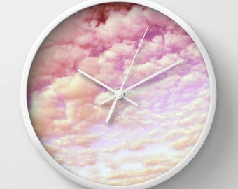 Cotton Candy Sky-Wall Clock,home,decor,time piece,nature, bath, unique,cool,colorful, abstract, pink,affordable,pink,pastel,office,nursery