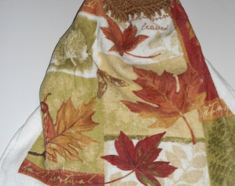Autumn Leaves Crochet Kitchen or Bathroom Towel