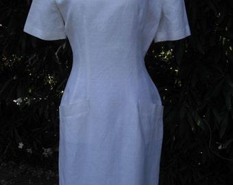 1980s White Linen Summer Dress by Kamisato size 8