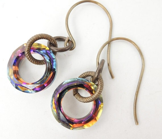 Volcano Cosmic Ring Earrings on Brass