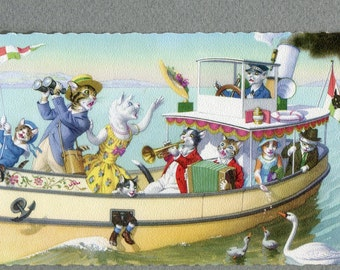 Miss Kitty loses hat  boat, Mainzer dressed cats postcard,   4911, cat postcard, cats postcard vintage postcard, SharonFosterVintage