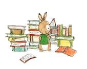 Book Bunny -- Archival Print -- Children's Art