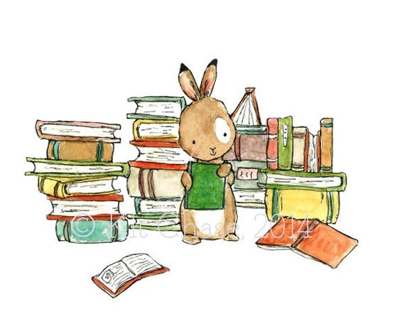 Book Bunny -- Archival Print -- Children's Art