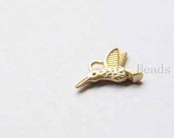 4pcs Matte 16K Gold Plated Brass Base Charms-Hummingbird 12x15mm (1659C-S-211)