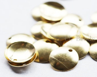 150pcs Raw Brass Curved Tags - Round 10mm (501C-S-229)