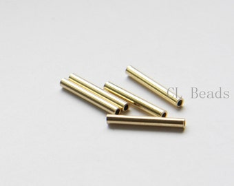 60pcs Raw Brass Tube 2x15mm with ID 1.4mm  (1687C-T-7)