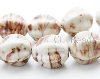 11pcs Porcelain beads-Sided Oval 28x25mm