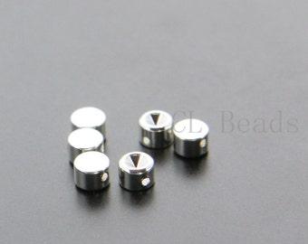 6pcs Shiny Silver Plated Brass Base Flat Round Spacer with Rhinestone Setting - 5x3.5mm (1734C-U-73)