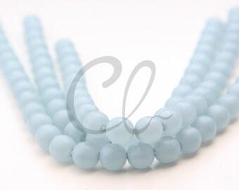 25pcs Czech Press Glass Round Beads - Matte Grey Blue 8mm (PG821408) D*