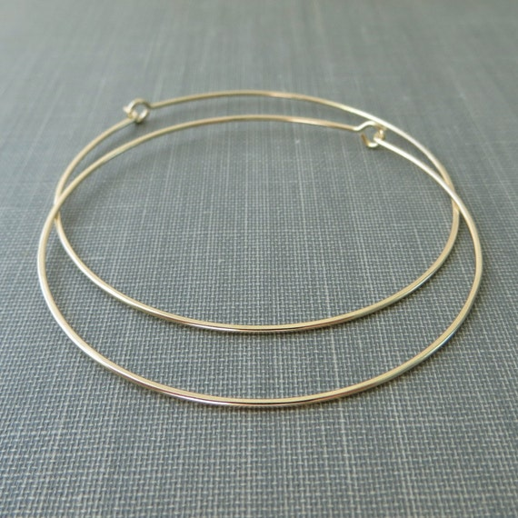 14K Yellow Gold Filled Earrings - 2 Inch Large Hoops - Hammered - Thin and Dainty - Simple Modern Minimal Wire Jewelry