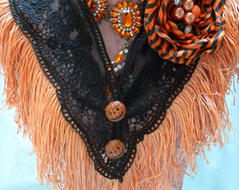 CAPELET Halloween Collar Shawl Costume - Lace Collar Make Over - Black and Orange