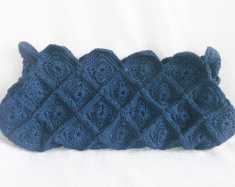 30's 40's Vintage Blue Crocheted Waffle Pattern Clutch Purse