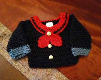 Made to order Popeye inspired sailor sweater newborn size