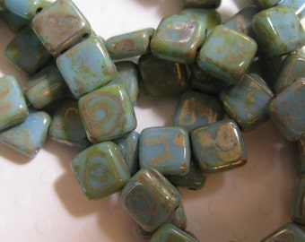 Czech 2 Hole, 6mm Tile Beads, one string of 25 beads - Sky Blue Picasso