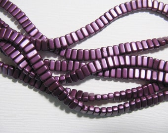 CzechMates Brick Beads 2 Hole, 3x6mm , one string of 50 beads -Pastel Bordeaux BRC36-25032AL