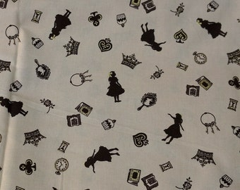 1 meter Silhouette of Alice in wonderland Japanese fabric  nc22