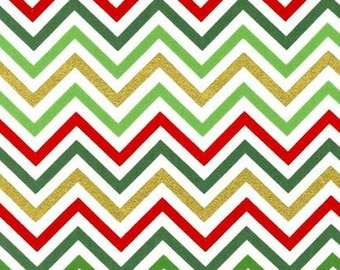 Fat Quarter -Remix Chevron Print Metallic Christmas by Robert Kaufman Fabrics  AAKM-10394-223 HOLIDAY