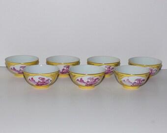 Vintage Chinese Fuchsia Pagoda Rice Bowls, Set of 7