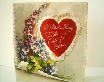 Large Vintage Valentine Card Heart and Flowers 1949