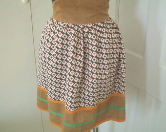 Vintage Brown and Orange Half  Apron