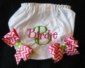 Monogrammed Bloomers with Bows - Hot Pink Chevron and Lime