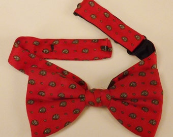 ROCKABILLY NECKWEAR BOW Tie silk twill paisleys  Designer  Adjustable 17 L X 2  1/4 in W