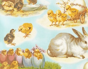 Clearance FABRIC VICTORIAN EASTER Bunny Chicks Beautiful in Sky Blue  1/2 yard