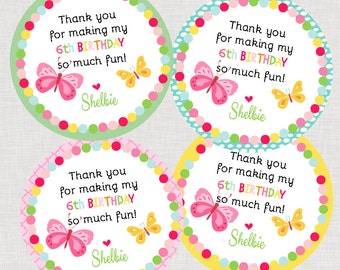 Butterfly Flutter Happy Birthday Favor Tags or Stickers Printable File PDF