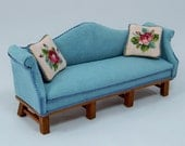 Dollhouse House Miniature Hand Made Couch, Cherry Wood and Micro Suede  and Hand Stitched Pillows
