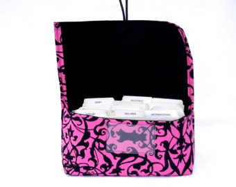 Coupon Organizer - Coupon Holder - Budget Wallet - Cash Wallet - Coupon Pouch - Coupon Purse - Trellis Scroll Pink Black Fabric