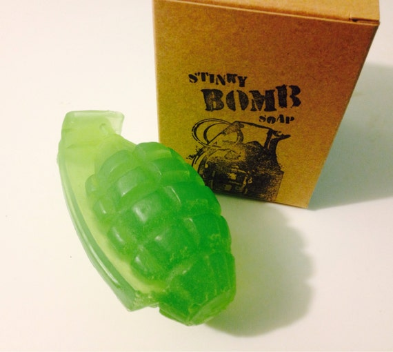 Minty Bombs - Hand grenade soap by Stinkybomb Soap