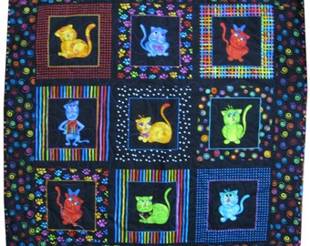 Cat Quilt in Black and Bright Colors Wall Hanging