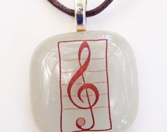 Treble clef pendant - fused glass - grey gray - music pendant - music necklace - musician gift under 20