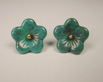 Turquoise Aurora Borealis Flowers Post Earrings gold-filled