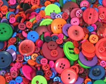 Plastic buttons mixed Rainbow deep darker colours bag of different sizes plastic button 50g