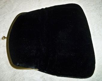 Vintage 1940s Black Velvet Evening Bag Clutch Purse