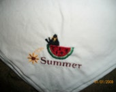 Crow and Watermelon  Bread Cloth Basket Liner Summer