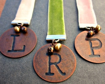 Personalized Copper Initial Letter Beaded Ribbon Bookmark Choose Your Color: To the Letter
