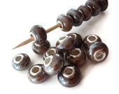 5 Beads, Cocoa Brown Colored Handmade Porcelain  European Style Beads, Jewelry making Supply, rondelle