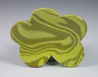 Glossy Yellow Tan Marbled Soap Dish With Four Feet