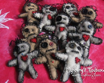 Cutely Spooky Hand Stitched Felt Voodoo Dolls with Pins. Ornamental Doll
