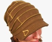 Hemp and Certified Organic Cotton Fleece Slouch Hat with Brim in Dark Chocolate Brown fits most heads