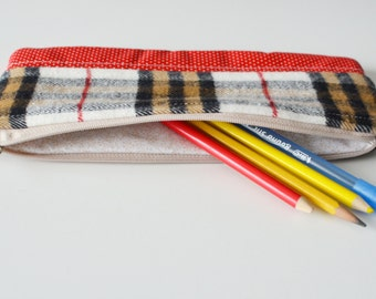 SALE** Flannel and Red Dot - Pen & Pencil Zipper Pouch (also great for cosmetics)