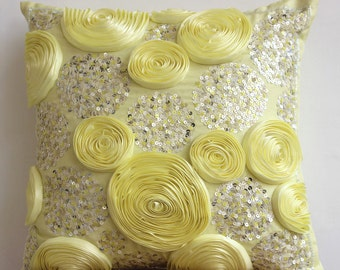 Decorative Euro Sham Covers Accent Pillow Couch Sofa 26x26 Inch Silk Euro Sham Cover Ribbon Sequin Embroidery Creamy Yellow Roses Home Decor