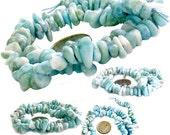 "MERZIEs 15"" genuine 4-8mm to 7-13mm rare Caribbean blue white LARIMAR gem stone beads"