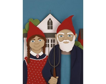Gnomerican Gothic (Gnomes) - 8 x 10 art print of an original paper sculpture by Tiffany Budzisz